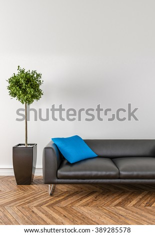 Put your creation on this empty area. Parquet on the floor, sofa and interior plant.