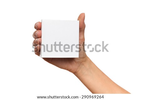 Put Your Product Name On This Box. Close up of woman's hand holding white carton box. Studio shot isolated on white. - stock photo