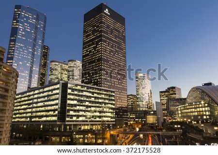Puteaux city, France-February 03, 2016: The business district La Defense  is Europe's largest purpose-built business district with 72 glass and steel buildings of which 18 are completed skyscrapers.
