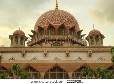 Putra Mosque Putrajaya Malaysia in sunset - stock photo
