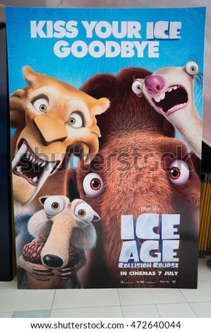 PUTRAJAYA, MALAYSIA - August 20, 2016: Ice Age: Collision Course poster displayed at Alamanda Putrajaya Mall. Its the fifth installment in the Ice Age film scheduled for release on July 22, 2016.