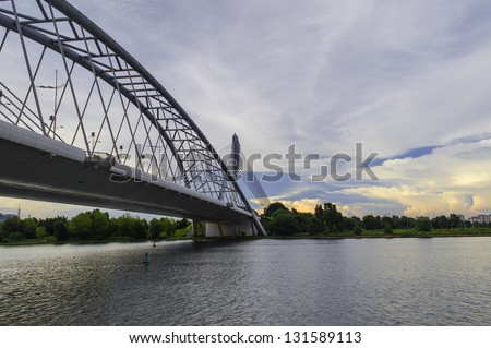 PUTRAJAYA, MALAYSIA - DECEMBER 20: The modern design of Seri Wawasan Bridge on December 20, 2010 in Putrajaya. Putrajaya is a planned city that serves as the federal administrative centre of Malaysia