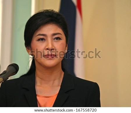Putrajaya, Malaysia, February 28, 2013: Thai Prime Minister Yingluck Shinawatra talks during a joint press conference in Putrajaya, outside Kuala Lumpur, Malaysia. - stock photo