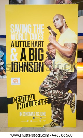 PUTRAJAYA, MALAYSIA - July 5, 2016: Central Intelligence poster displayed at Alamanda Putrajaya Mall. Central Intelligence is a action comedy film directed by Rawson Marshall Thurber