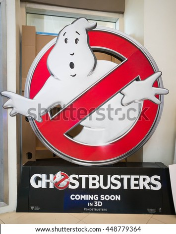 PUTRAJAYA, MALAYSIA - July 5, 2016: Ghostbusters poster displayed at Alamanda Putrajaya Mall. Ghostbusters is a supernatural comedy film and reboot of the Ghostbusters franchise Directed by Paul Feig - stock photo
