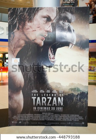 PUTRAJAYA, MALAYSIA - July 5, 2016: The Legend of Tarzan poster displayed at Alamanda Putrajaya Mall. The Legend of Tarzan is a  action adventure film based on the fictional character. - stock photo