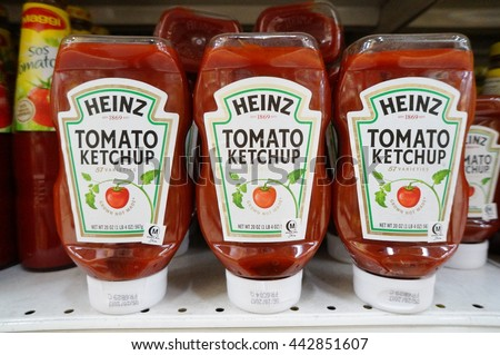 PUTRAJAYA, MALAYSIA - JUNE 25, 2016: Heinz tomato ketchup at the hypermarket in Putrajaya, Malaysia. Manufactured by H.J. Heinz Company