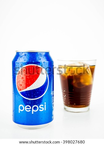 PUTRAJAYA, MALAYSIA - MAC 26, 2016. Pepsi Cans with ice Isolated On White. Pepsi is one of most popular soft drink among teenagers. - stock photo