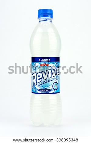 PUTRAJAYA, MALAYSIA - MAC 25, 2016. Revive isotonic bottle Isolated On White. Revive isotonic drink is popular for athletes. - stock photo
