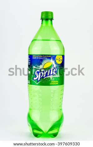 PUTRAJAYA, MALAYSIA - MAC 25, 2015. Sprite isolated on white. Sprite drinks are produced and manufactured by The Coca-Cola Company, an American multinational beverage corporation. - stock photo