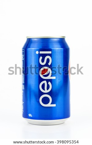 PUTRAJAYA, MALAYSIA - MAC 25, 2016. Two Pepsi Cans with Isolated On White. Pepsi is one of most popular soft drink among teenagers.