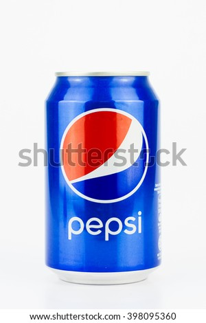 PUTRAJAYA, MALAYSIA - MAC 25, 2016. Two Pepsi Cans with Isolated On White. Pepsi is one of most popular soft drink among teenagers. - stock photo