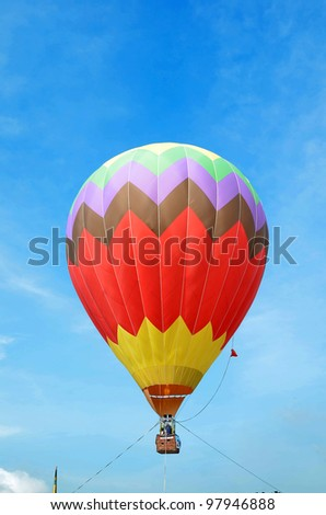 PUTRAJAYA, MALAYSIA-MAR 17: Hot air balloon in flight at the 4th Putrajaya International Hot Air Balloon Fiesta 17 Mar, 2012 in Putrajaya. - stock photo