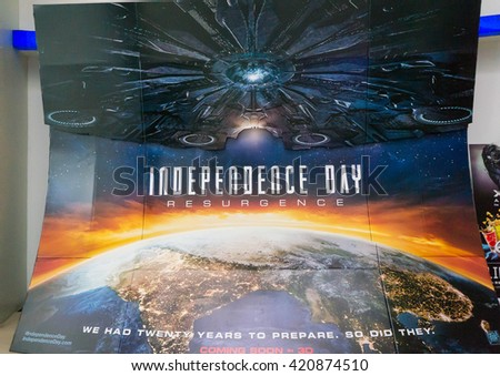 PUTRAJAYA, MALAYSIA - MAY 15, 2016: A Independence Day poster displayed at IOI Putrajaya Mall. Independence Day: Resurgence is a science fiction disaster film directed by Roland Emmerich - stock photo