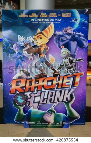 PUTRAJAYA, MALAYSIA - MAY 15, 2016: A Ratchet & Clank poster displayed at IOI Putrajaya Mall. Ratchet & Clank is a series of science fiction, action-oriented platformed video games. - stock photo