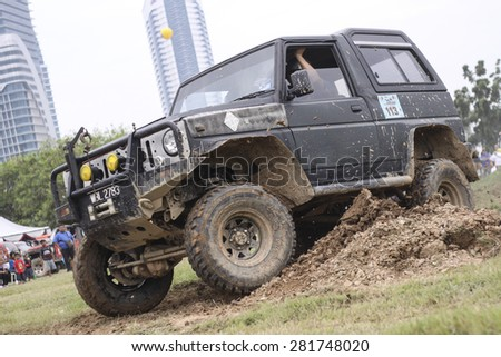 PUTRAJAYA, MALAYSIA - 24 MAY 2015. 4x4 in action at Festival Belia Putrajaya 2015. The event held annually to attract youngsters with outdoor activity.