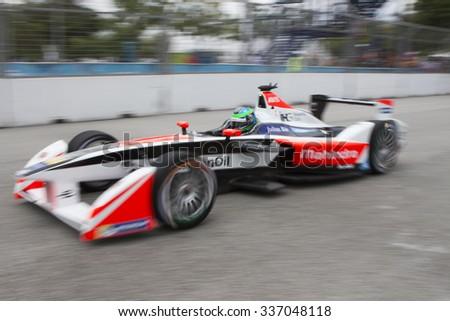 Putrajaya, Malaysia - November 7, 2015 : Close up of Nick Heidfeld of Team Mahindra Racing at FIA Formula-e ePrix Championship Putrajaya, Malaysia - stock photo