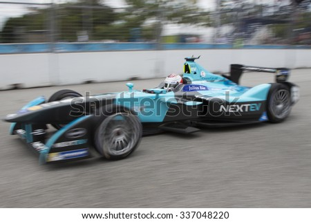 Putrajaya, Malaysia - November 7, 2015 : Nelson Piquet JR of Team Nextev TCR on high speed straight  at FIA Formula-e ePrix Championship Putrajaya, Malaysia - stock photo