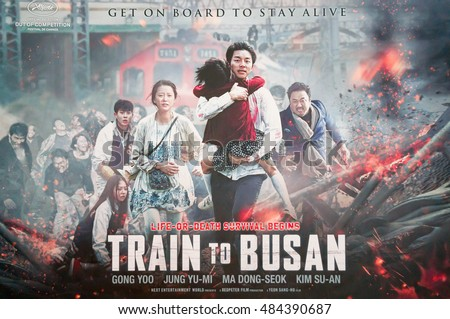 PUTRAJAYA, MALAYSIA - SEPTEMBER 11, 2016: Train to Busan movie poster. Train to Busan is a 2016 South Korean zombie apocalypse thriller film directed by Yeon Sang-ho and starring Gong Yoo, Jung Yu-mi