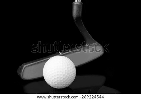 putter and ball , golf club