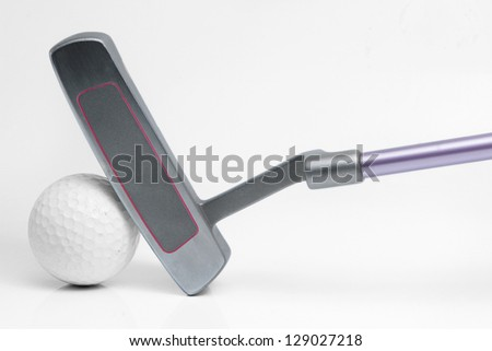 Putter and golf ball isolated on white - stock photo