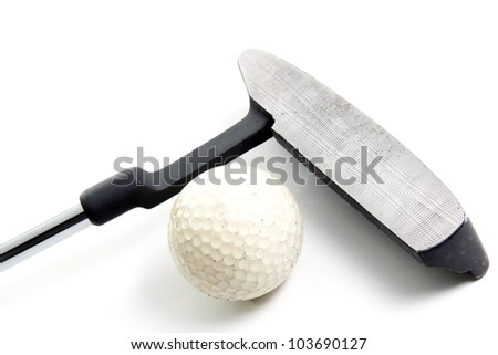 putter and golf ball on white background