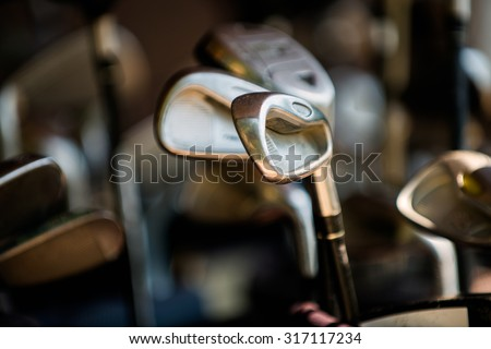 putter golf course close-up, best-selling game for the rich. - stock photo