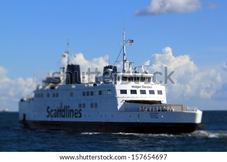 PUTTGARDEN, GERMANY - AUGUST 28: Scandlines ferry at Puttgarden harbour on August 28, 2012 in Puttgarden, Germany. Scandlines GmbH, established in 1998, is one of Europe's largest ferry companies.