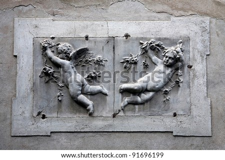 Putti, angels, Italy - stock photo