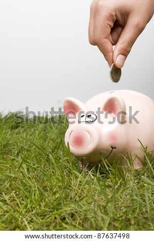 Putting money in a Piggy bank. - stock photo
