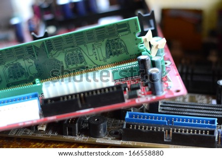 putting RAM into the memory slot on motherboard