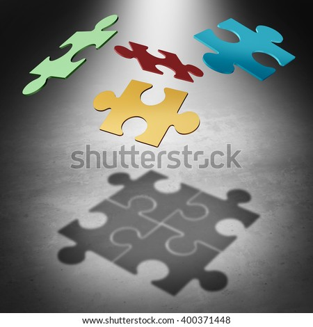 Putting the puzzle together teamwork concept as a business success symbol with four divided pieces of a jigsaw puzzle flying in the air creating a cast shadow as a 3D illustration. - stock photo