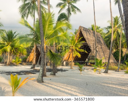 Puuhonua o Honaunau National Historical Park preserves the site where, up until the early 19th century, Hawaiians who broke a kapu could avoid certain death by fleeing to this place of refuge. - stock photo