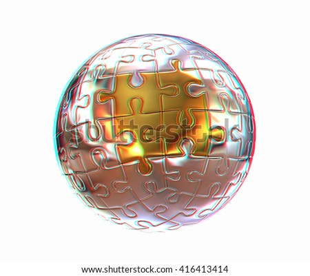 Puzzle abstract sphere on a white background. 3D illustration. Anaglyph. View with red/cyan glasses to see in 3D.