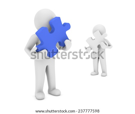 puzzle and man 3d render - stock photo