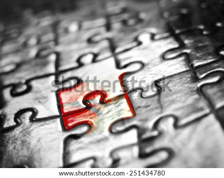 Puzzle background black white red - stock photo