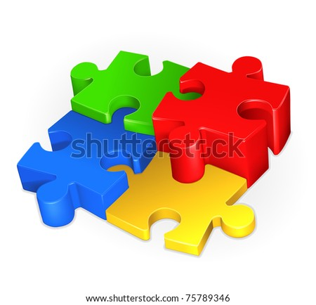 Puzzle, bitmap copy - stock photo