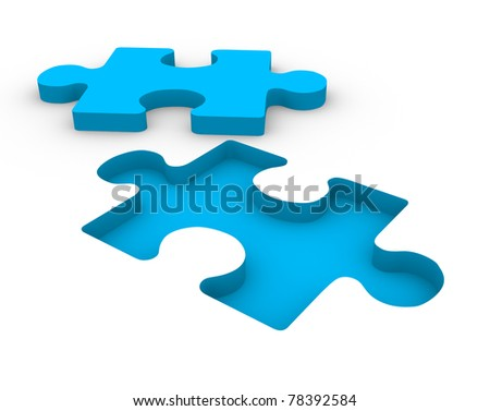 Puzzle blue on white background. This is a 3d render illustration