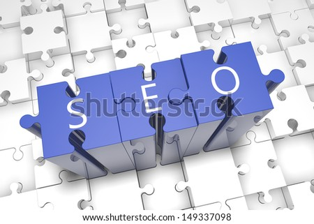 Puzzle concept: acronym SEO on blue jigsaw pieces - stock photo