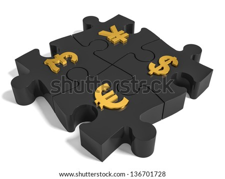 Puzzle currency concept. 3D illustration. - stock photo