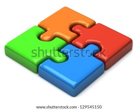 Puzzle 3d - stock photo