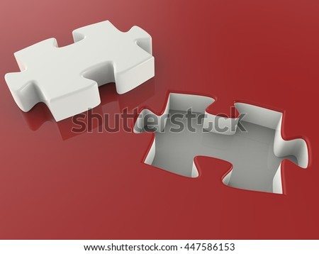 Puzzle. 3D illustration. 3D CG.