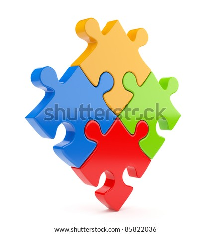 Puzzle 3d isolated on white. Team concept