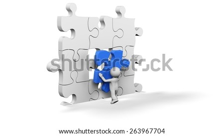 Puzzle. 3D. The important part - stock photo