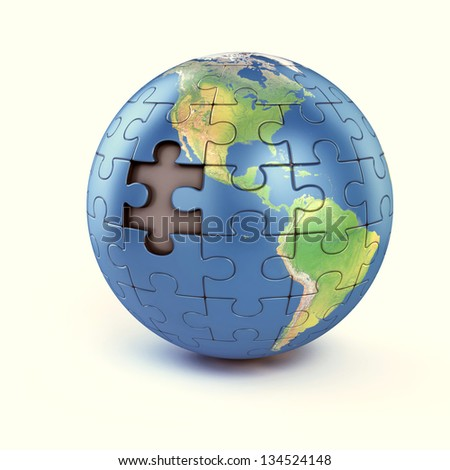 puzzle earth with missing piece - Elements of this image furnished by NASA