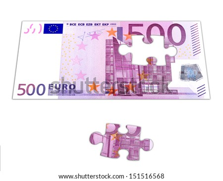 Puzzle 500 Euro - stock photo