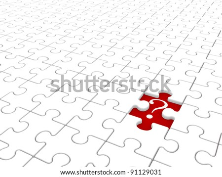 Puzzle game with a missing piece and question mark. Jigsaw. 3d render illustration