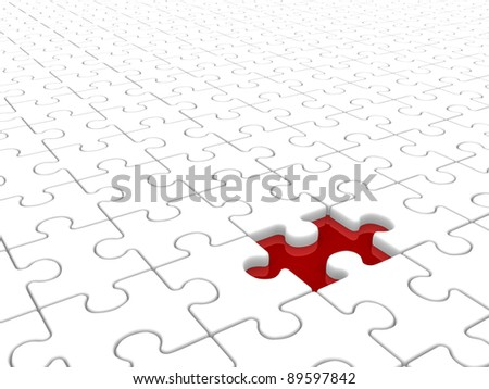 Puzzle game with missing piece. This is a 3d render illustration