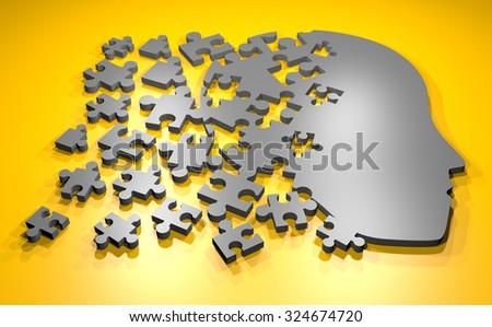 puzzle head - stock photo