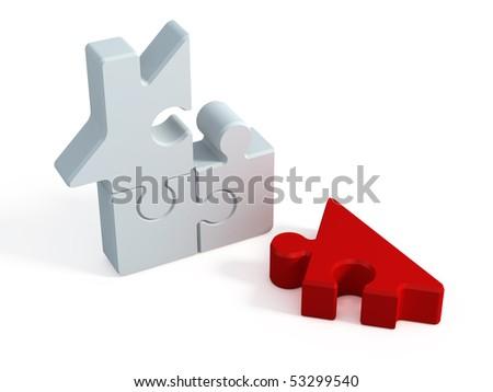 Puzzle house - stock photo